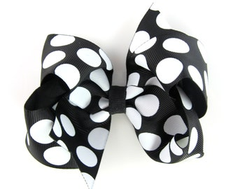 "Big Polka Dot Black Hair Bow 4"" - Baby Toddler Girl - 4 Inch Boutique Bow on Alligator Clip Barrette"
