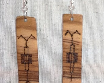 Earrings in olive wood 'Man and woman'
