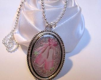 Necklace Ballet slipper dancer in a sea of pink glitter