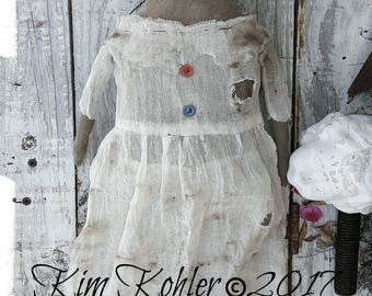 Doll Pattern KIT Farmhouse Includes Stained Early Cloth Mailed Primitive Fabric Sewing Worn n Old Angel April Kim Kohler Veenas Mercantile