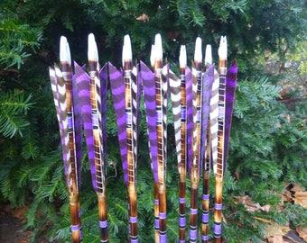 Heavyweight archery arrow set / 75-80lb spine weight / Dozen (12 arrow) set / Traditional wood archery arrows