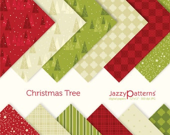 Christmas Tree digital papers pack for holidays in red, green and champagne DP027 instant download