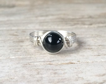 Black Onyx Ring, Sterling Silver Filled Ring, Wire Wrapped Ring, Gemstone Ring, Stone Ring