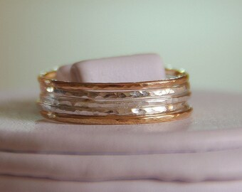 Set of 5- 14k gold filled & sterling silver hammered stack/stacking/stackable/band rings sizes- 4,5,6,7,8,9,10,11, half and quarter sizes