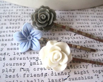 Bobby Pins, Gray, White and Light Blue, 3 Flower Hairpins, Wedding Bridal Hair Accessory, Stocking Stuffer, Small Gift, Gift for Women