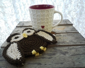 Owl Coasters - Crochet Owl - Crochet Coasters - Drink Coasters - Woodland Decor - Gift under 20 - Housewarming Gift - Set of 2