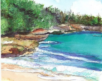 Kauai Beach art, Kauai art, 8x10 prints, hawaiian seascapes, beaches, fine art beach print, hawaii decor, kauaiartist, kauai watercolors