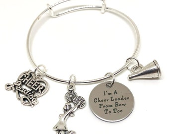 Cheerleader Bow to Toe Bracelet CHILD and ADULT SIZES, Cheerleading Gift, Cheerleader Jewerly, Cheerleading Award, Cheerleading Jewelry
