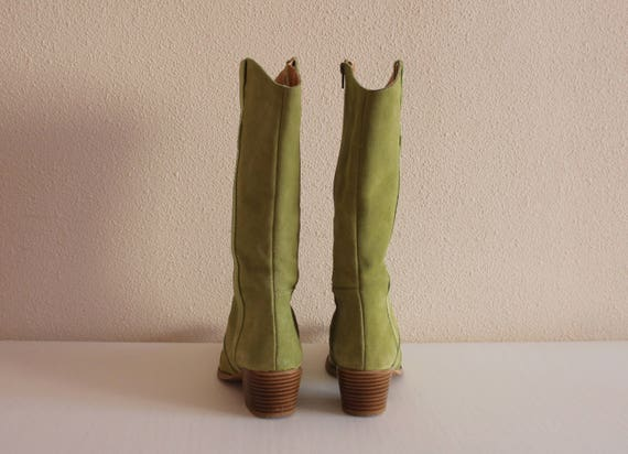 Boots 3 5 Pointed Cowboy UK 6 Dancing Leather Womens US Booties Western Boots Boots Toe Cowboy Shoes Boots Boots EUR Line Green 36 Cowgirl pqdgBwp