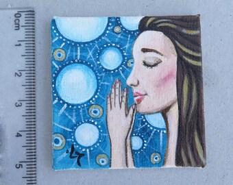 Dollhouse Miniature Painting, Original Miniature Painting, Woman Portrait, Prayer Painting, Small Painting, Small Art