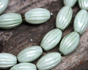 Pearl Green oval beads Antique Green Carved Large czech glass barrel beads Luster coating long pressed beads 14x8mm - 8Pc - 3009