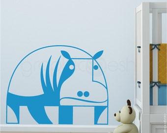 GEOMETRIC HIPPO - Wall Decals - Nursery interior decor