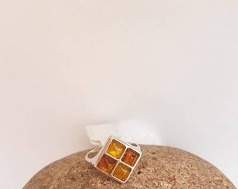 Baltic Amber rings Cabochon Bezel set Oval Round silver ring Mother day Sale Organic Foccil Jewelry
