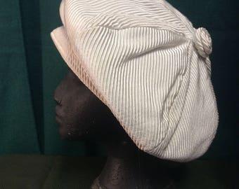 1960s cream lined beret