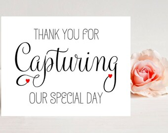Card for photographer - Card for videographer - Card for wedding - Wedding Cards- Thank you for capturing our special day