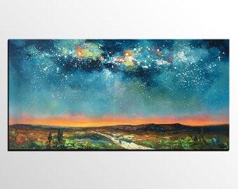 Abstract Landscape Art, Starry Night Sky Painting, Large Painting, Canvas Oil Painting, Canvas Wall Art, Original Art Painting, Impasto Art