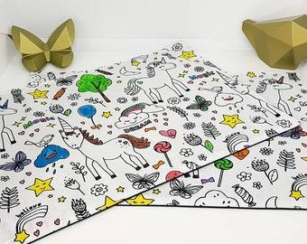 Lot de 2 coloriages lavables enfant zéro déchet motif au choix. Format set de table 23 cm par 35 cm