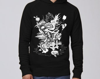 Hand screen printed Hoodie Sweatshirt / Eden / Black