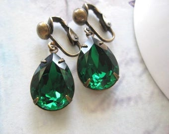 Stella - Emerald Earrings - Green Clip On Earrings - Green Crystal Jewellery - Victorian Earrings - Created with crystals from Swarovski®