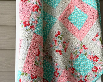 Ready to ship, shabby chic, aqua, pink, red, green, baby girl quilt, lap quilt, sofa quilt