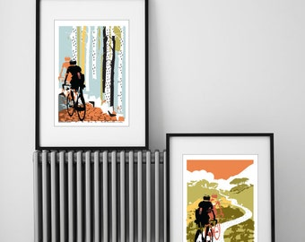 Cycling Print, Set of 2 Cycling Prints, Prints for Cyclists