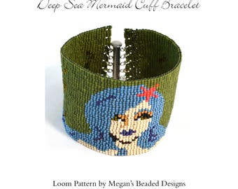 Deep Sea Mermaid Cuff Bracelet Pattern - Loom Pattern - Loom or Square Stitch - Mermaid Loom Pattern