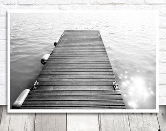 Jetty Print, Jetty Photograph, Black and White, Jetty Photo Print, Printable Photo, Instant Download, Fine Art Print, Printable Wall Art