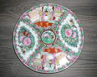 Vintage Oriental Red Green Serving Plate Made in China Hand painted @62