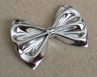 Silver Mirror Vinyl Faux Leather Bow Tie, Rose Gold Hair Bow, Hair Bow