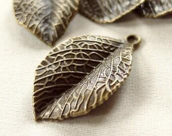 5 Antiqued Bronze Metal Leaf Pendants, 1 pkg of 5