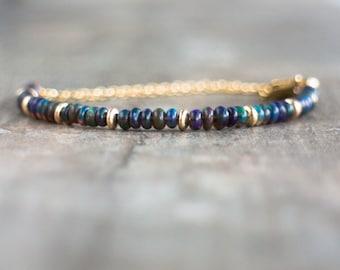 Black Opal Bracelet, October Birthstone, Ethiopian Welo Opal Jewelry, Gemstone Stacking Bracelet, Wife Gift, Dainty Birthstone Jewelry