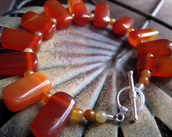 Blood Orange Carnelian Bracelet, Orange Beaded Bracelet, Blood Red Carnelian Beads, Carnelian Jewelry
