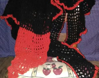 Black and Red Crocheted Shawl