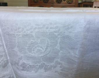 """Vintage DAMASK Linen Tablecloth EASTER Dinner Trellis Floral Rose Border WhiteFormal  80"""" x 60"""""""