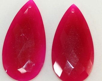 Natural Fuchsia Chalcedony Pair Drop 40x20mm Gemstone  Pendant