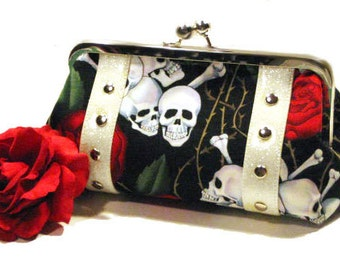 Skull and Rose Clutch - Rockabilly Bag - Punk Clutch - Psychobilly Purse - Vinyl Bag - MADE TO ORDER