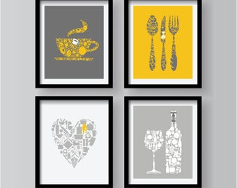 Spring Sale Lovely Kitchen Decor Collection, Yellow Grey White Kitchen Wall  Art, Kitchen Decor