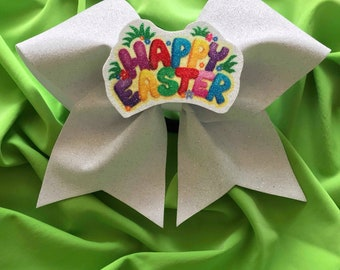 Happy Easter Interchangeable 3D Cheer Bow Centerpiece
