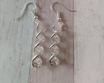 DNA earrings, science gift, nurse gift, geek earrings, genetics gift, doctor earrings, doctor gift, biology earrings, biology gifts