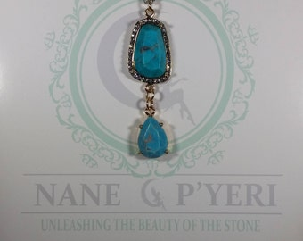 Turquoise & Gold Teardrop Charm Necklace