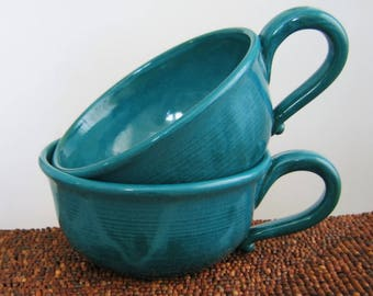 Soup Mugs, Set of 2 Large Mugs, Stoneware Pottery Coffee Cups in Peacock Blue / Green, Cappuccino Cups 16 oz. Handmade Coffee Gift