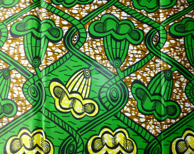 The African Fabrics Block Wax Print Cotton Fabrics For Dress &Craft Making Sewing Fabric/Kitenge/Pagnes/Kikwembe /Lapa Sold By Yard