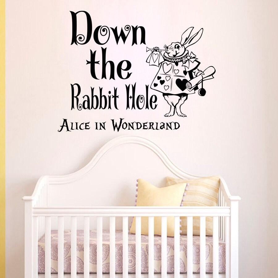 Wandtattoo Sprüche Alice im Wunderland unten Kaninchen Loch