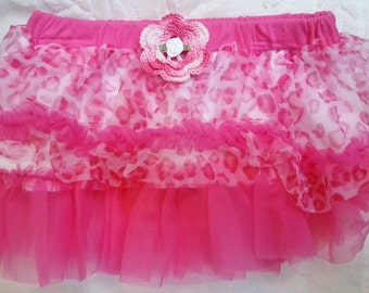 Girls Baby Infant Pink Cheetah Tutu Skirt - Handmade Irish Rose - Sizes  6 , 9, and 12 months