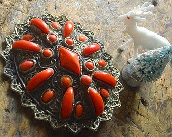 Antique FAUX Coral Brooch, Salmon Stone Filigree Pin, Jewelry gift for her under 25