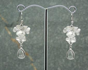 Crystal drop earrings, bridal earrings, flower and cz earrings, bridesmaid earrings, wedding jewellery