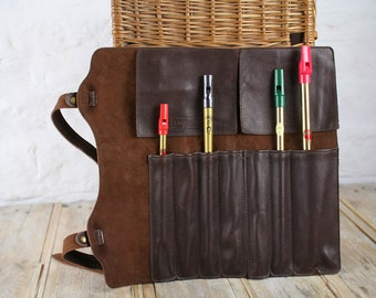 Leather penny whistle case, recorder case, fife case, two-part whistle holder, caddy