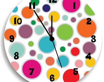 Rainbow colorful dots WALL CLOCK for Kids Bedroom Baby Nursery, Children room decor, Wall Art
