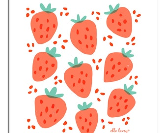 Strawberry Patch- Art Print 5x7, 8x10, 11x14