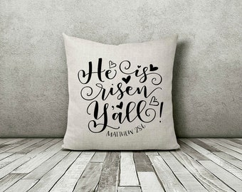 He Is Risen Pillow, He Is Risen Decor, He Has Risen, He Has Risen Decor, Easter, Easter Pillow, Jesus, Jesus Pillow, Religious Gifts, God